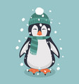 penguin with green hat and scarf vector image