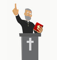priest gave a sermon in a church in worship vector image vector image