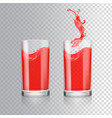 red juice in glass grapefruit cranberry vector image