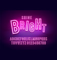 retro shine neon font colorful light alphabet vector image