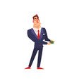 rich successful businessman character holding vector image