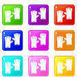 rubber gloves set 9 vector image vector image