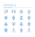 set color line icons people vector image vector image