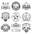 set vintage boxing emblems vector image vector image