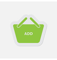 simple green icon - shopping basket add vector image vector image
