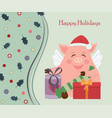 small funny piggy for new year vector image