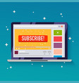 subscribe button on a video channel idea vector image
