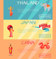 thai japan china web set and traditional signs vector image