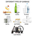 types garbage realistic isolated vector image