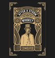 vintage design for labels suitable for whiskey vector image vector image