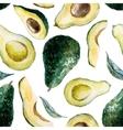 Watercolor avocado pattern vector image