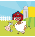 White Cow Eating A Daisy Near A Barn And Silo vector image