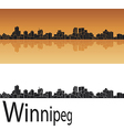 Winnipeg skyline in orange background vector image vector image