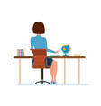 young teacher at her desk working at laptop with vector image vector image