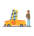 car flat tires car accident colorful character vector image