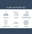 6 air icons vector image vector image