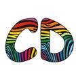 Background skin zebra shaped letter C D vector image vector image