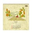 Calendar 2014 october Streets of the city sketch vector image vector image