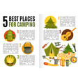 camping equipment flat infographics vector image vector image