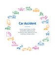 car accident signs thin line banner card circle vector image vector image