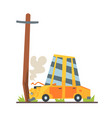 car crashed into street post car accident vector image vector image