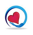 caring hand with loving heart icon vector image vector image