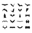 cartoon silhouette black different bats icon set vector image vector image