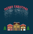 christmas greeting picture with timbered houses vector image