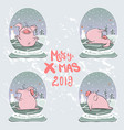 christmas set of cute little pigs new year symbol vector image