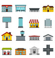 city infrastructure items set flat icons vector image vector image
