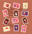 collection christmas stamps set for letter vector image