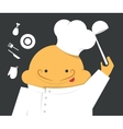 Cook in a white robe with hat and scoop vector image vector image
