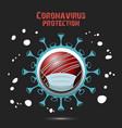 coronavirus sign and cricket ball with mask