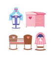 cots and changing table for newborns different vector image