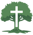cross and tree christian religious symbol vector image