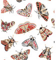 cute butterflies seamless pattern in retro style vector image vector image