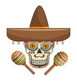 decorative ornamental sugar skull with mexican hat vector image vector image