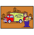 delivery service retro cartoon vector image vector image