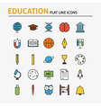 Education and Science Colorful Flat Line Icons Set vector image