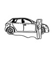 electric car sketch hand drawn vector image vector image