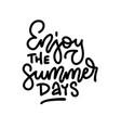 enjoy summer days - handwritten lettering vector image vector image