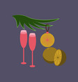 flat on background of glasses champagne oranges vector image vector image
