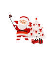 flat santa claus making selfie with present vector image vector image