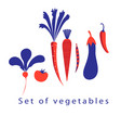 graphic set of different vegetables vector image vector image