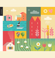 idillic summer landscape collage vector image vector image