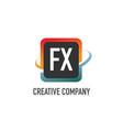 initial letter fx swoosh creative design logo vector image vector image