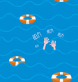 Man drowns seamless pattern Lifebuoy on waves of vector image