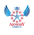 military star emblem winged victory award symbol vector image vector image