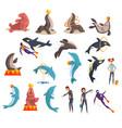 oceanarium or dolphinarium set sea animals and vector image