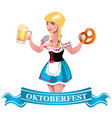 oktoberfest beer with girl vector image